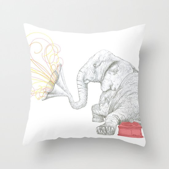 One Elephant Band Throw Pillow