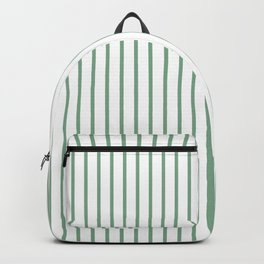 Moss Green Green Pin Stripe on White Backpack