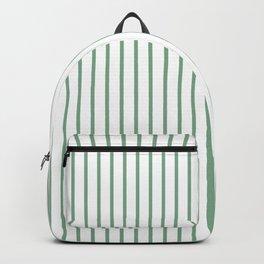 Moss Green Green Pin Stripe on White Backpack