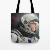 interstellar Tote Bags featuring Interstellar by San Fernandez