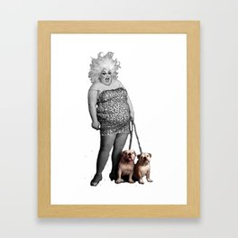 Divine and her dogs Framed Art Print
