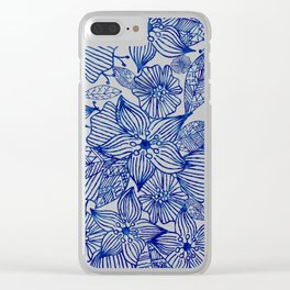 Hand painted royal blue white watercolor floral illustration Clear iPhone Case