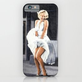 The Seven Year Itch, Marilyn in a White Dress Subway Grate Scene portrait painting iPhone Case