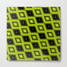 Black and Yellow Diamonds Metal Print