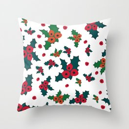 Christmas rose plant pattern Throw Pillow
