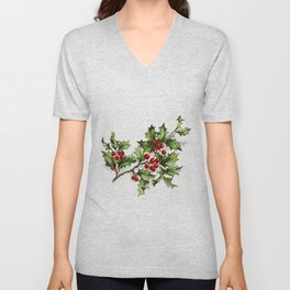 Holly Berries 20171001 by JAMFoto Unisex V-Neck