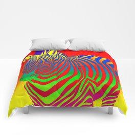 Colorful Psychedelic Rainbow Zebra Comforters