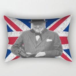 Winston Churchill Posing With A Tommy Gun Rectangular Pillow