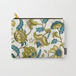 Green and Blue Indian Floral Carry-All Pouch