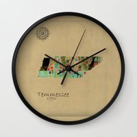 tennessee Wall Clocks featuring Tennessee state map  by bri.buckley