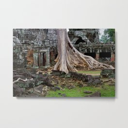 Ta Prohm Temple Ruins In Cambodia Metal Print