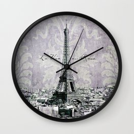 romantic Paris violet Wall Clock