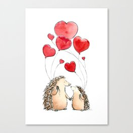 Hedgehogs in Love, illustration of hedgehog sweethearts with balloons. Canvas Print