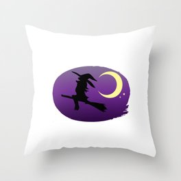 Halloween Yes I can drive a stick! Witch Throw Pillow