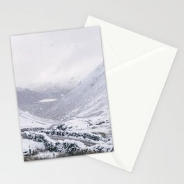 Heavy snow falling over the Kirkstone Pass. Cumbria, UK. Stationery Cards