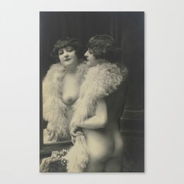 Victorian Vintage Posing Lady Erotic French Looking in Mirror Canvas Print
