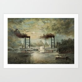 Steamboat Race On The Mississippi - Baltic Vs Diana - 1859 Art Print