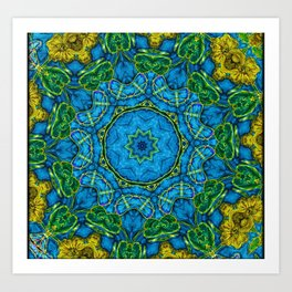 Lovely Healing Mandalas in Brilliant Colors: Blue, Gold, and Green Art Print