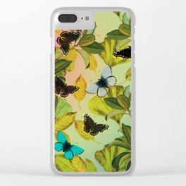 Vintage Ginkgo Leaves and Butterflies Clear iPhone Case