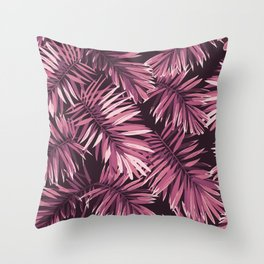 Rose palm leaves Throw Pillow