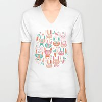 bunnies V-neck T-shirts featuring Bunnies by Olya Yang