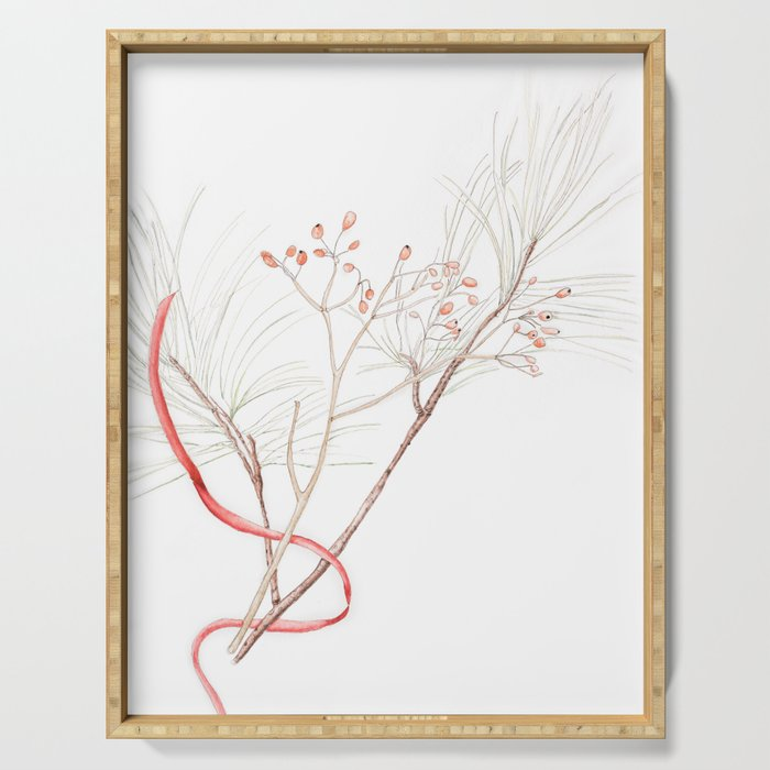 Winter Branches (white pine and rose hips) in Watercolor Serving Tray
