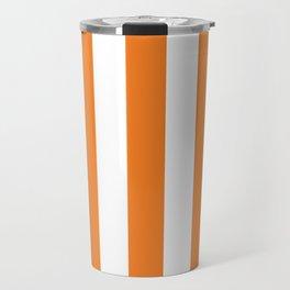 Princeton orange - solid color - white vertical lines pattern Travel Mug