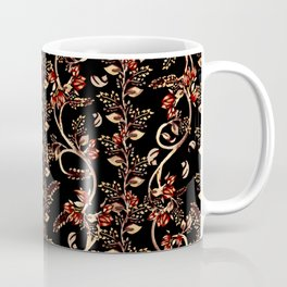 Contemporary Indian floral in watercolor - Hot brown, gold and red Coffee Mug