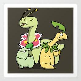 Pokémon - Number 152, 153 & 154 Art Print