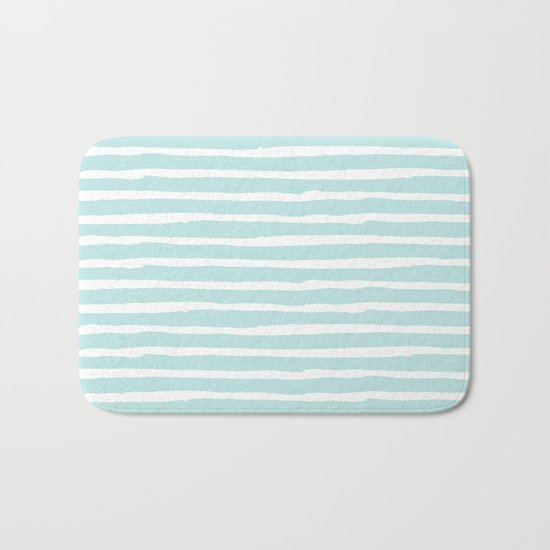 Elegant Stripes Succulent Blue and White Bath Mat