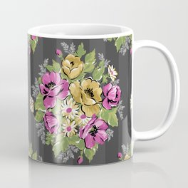 Floral Bouquet on Striped Background Coffee Mug