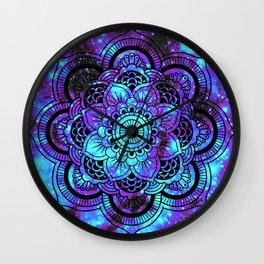 Mandala : Bright Violet & Teal Galaxy 2 Wall Clock