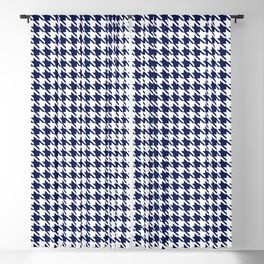 PreppyPatterns™ - Modern Houndstooth - navy blue and white Blackout Curtain