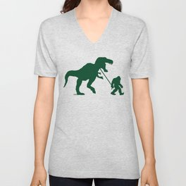 Gone Squatchin with T-rex Unisex V-Neck