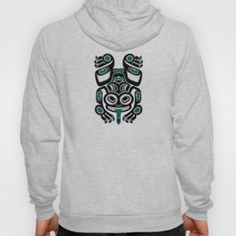 Teal Blue and Black Haida Spirit Tree Frog Hoody