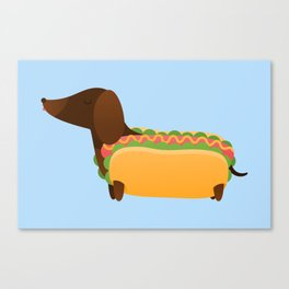 Wiener Dog in a Bun Canvas Print