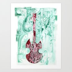red guitar pt 2 Art Print