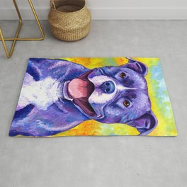 Peppy Pitbull Terrier Colorful Dog Rug