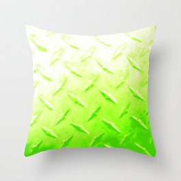 Lime Green Industrial Metal Sheeting Digital Photo Edited Throw Pillow