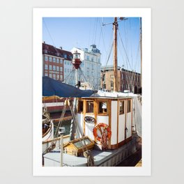cruisin the copenagen canal Art Print