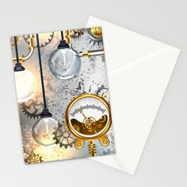 Steampunk Industrial Background with Manometer and Electric Lamp Stationery Cards