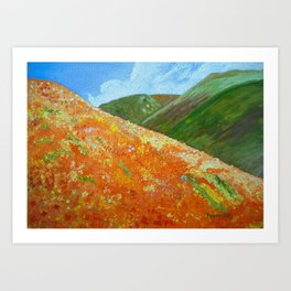 California Poppies, landscape art Art Print