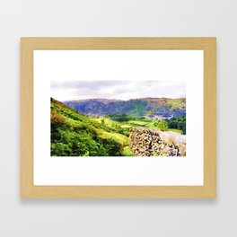 Dry stone wall overlooking a valley, Lake District, UK. Watercolour painting. Framed Art Print