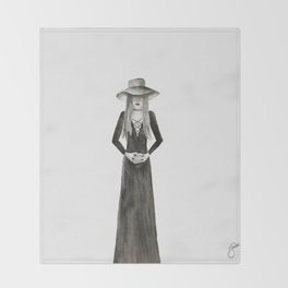 """Southern Gothic Witch Coven Watercolor; """"Hex"""" Throw Blanket"""