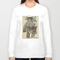 saxophone Long Sleeve T-shirts featuring Space Cat with Saxophone by Felis Simha