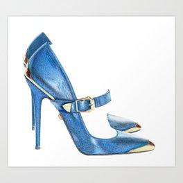 Blue shoes Art Print