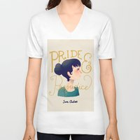 pride and prejudice V-neck T-shirts featuring Pride and Prejudice by Nan Lawson