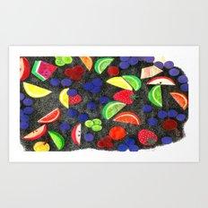 The fruit with crosshatch travel mug. Art Print