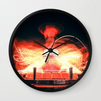 ufo Wall Clocks featuring UFO by Teodora Roşca
