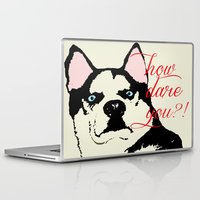husky Laptop & iPad Skins featuring Offended Husky by ElmWood Grove